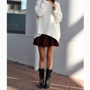 Zara Red Knit Soft Pleated Circle Mini Skirt